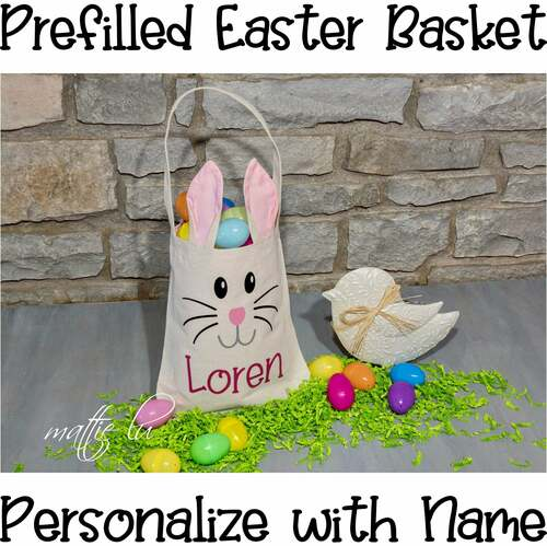 Personalized Easter Bunny Basket, Filled Easter Basket Girl, Prefilled Basket, Easter Gift Kids, Custom Name Easter Bunny Bucket, Mattie Lu