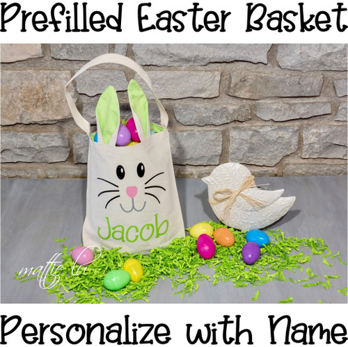 Personalized Prefilled Easter Basket, Filled Easter Basket Boy, Girls Easter Bunny Basket Bundle, Custom Name Kids Filled Basket, Mattie Lu