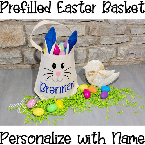 Personalized Name Easter Basket, Filled Easter Basket Girl, Easter Bunny Basket Boy, Easter Gift Kids, Custom Easter Bunny Bucket, Mattie Lu