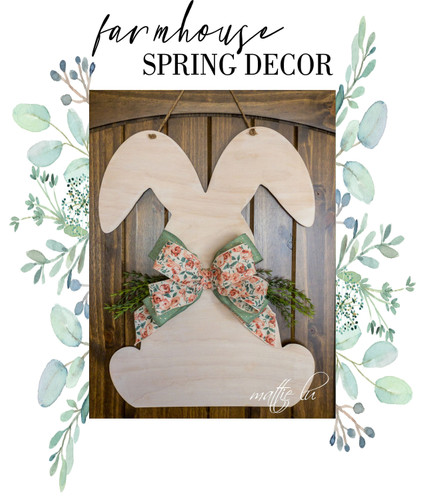 Farmhouse Spring Decor, Personalized Easter Gifts, Spring Door Hanger, Easter Door Hanger, Easter Bunny Spring Decor, Door Decor, Mattie Lu