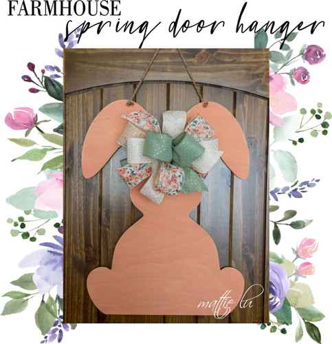 Farmhouse Easter Door Hanger, Easter Bunny Spring Door Hanger, Easter Decorations, Custom Name Gifts, Personalized Easter Sign, Mattie Lu