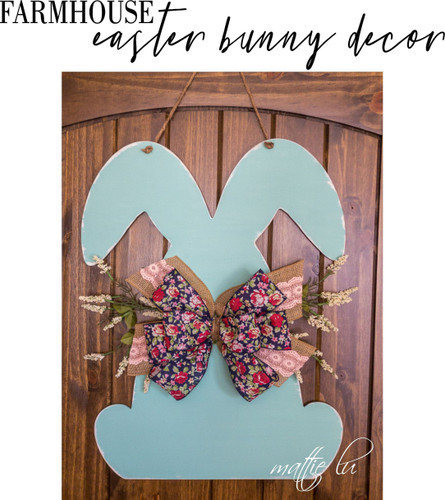Farmhouse Easter Decor, Personalized Home Decor Easter Gift, Easter Door Hanger, Easter Bunny Spring Decor, Custom Easter Sign, Mattie Lu