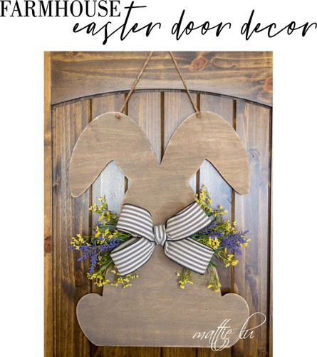 Personalized Spring Door Hanger, Farmhouse Decor, Personalized Easter Gift, Custom Easter Door Hanger, Rustic Easter Bunny Sign, Mattie Lu