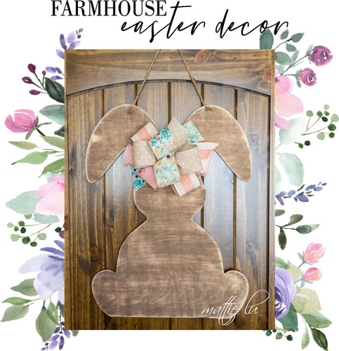 Rustic Easter Decor, Personalized Spring Door Hanger, Farmhouse Decor, Personalized Easter Gift, Custom Easter Bunny Door Hanger, Mattie Lu