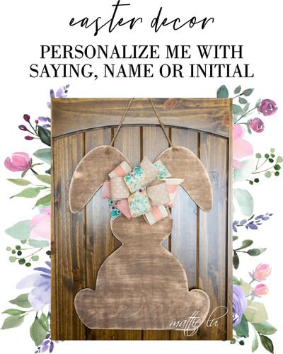 Rustic Easter Decor, Personalized Spring Door Hanger, Farmhouse Decor, Personalized Easter Gift, Custom Easter Bunny Door Hanger, Mattie Lu