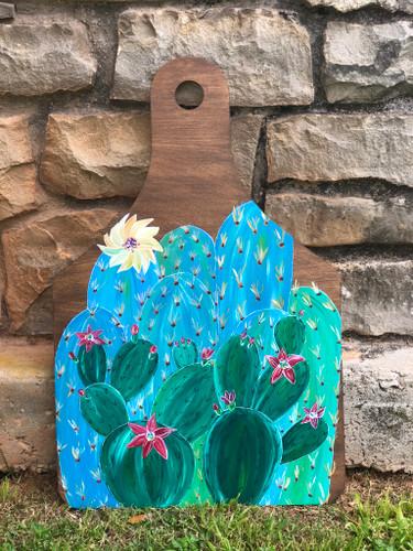 Flowering Cactus Ear Tag Door Hanger