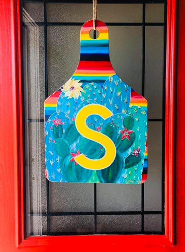 Serape Cactus Ear Tag Door Hanger