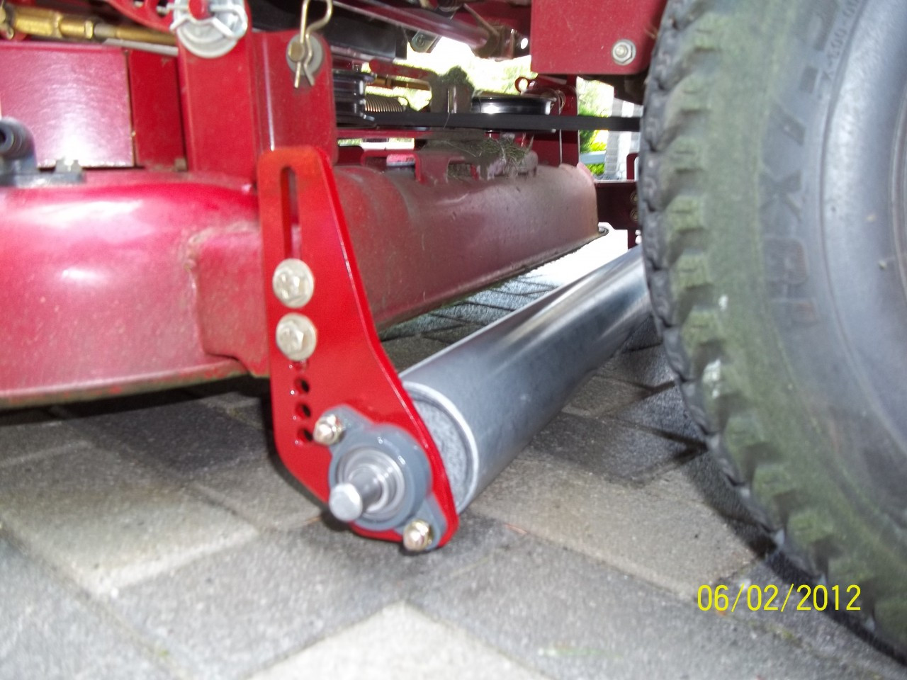 "Lawn striper installed on Toro Timecutter 44"" deck."