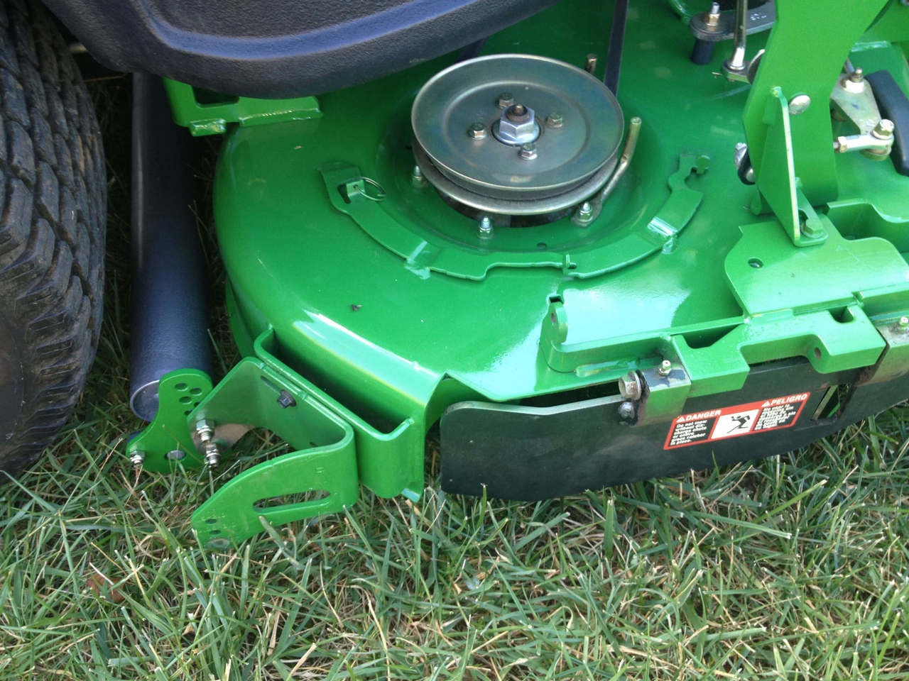 """Customer supplied photo of turf striper installed on 2012 John Deere 930A with 60"""" 7 Iron mulch on demand deck."""