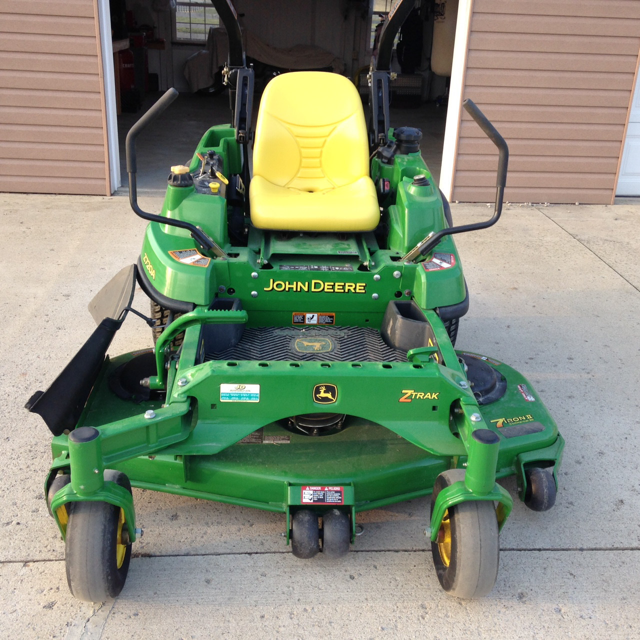 """Lawn Striping Kit on John Deere Z720A with the 60"""" 7 Iron deck without anti-scalp wheel brackets."""