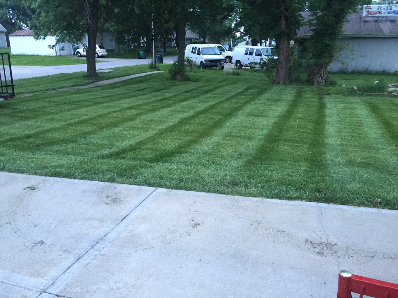 Lawn striping kit mounted on Toro Grandstand.