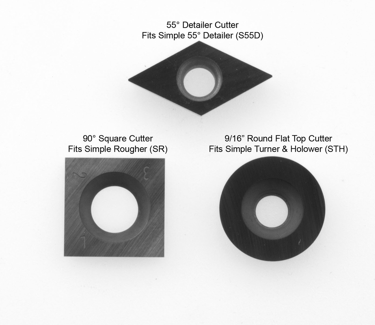 3 Replacement Carbide Cutters for 3 Tool Set with Simple Turner and Hollower. Shown here with 90° square cutter for Simple Rougher.