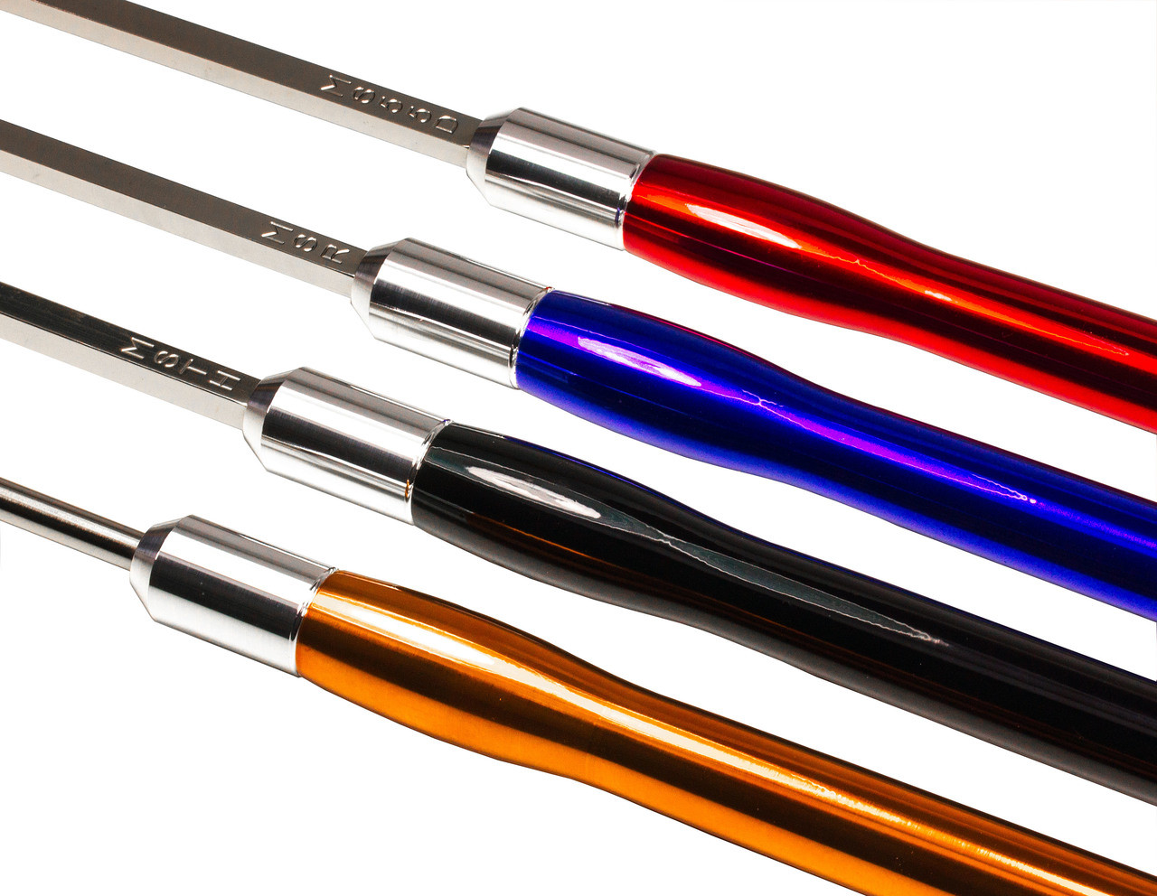 Carbide Turning Tools Set of 4 Mid Size Tools with Color Coded Handles