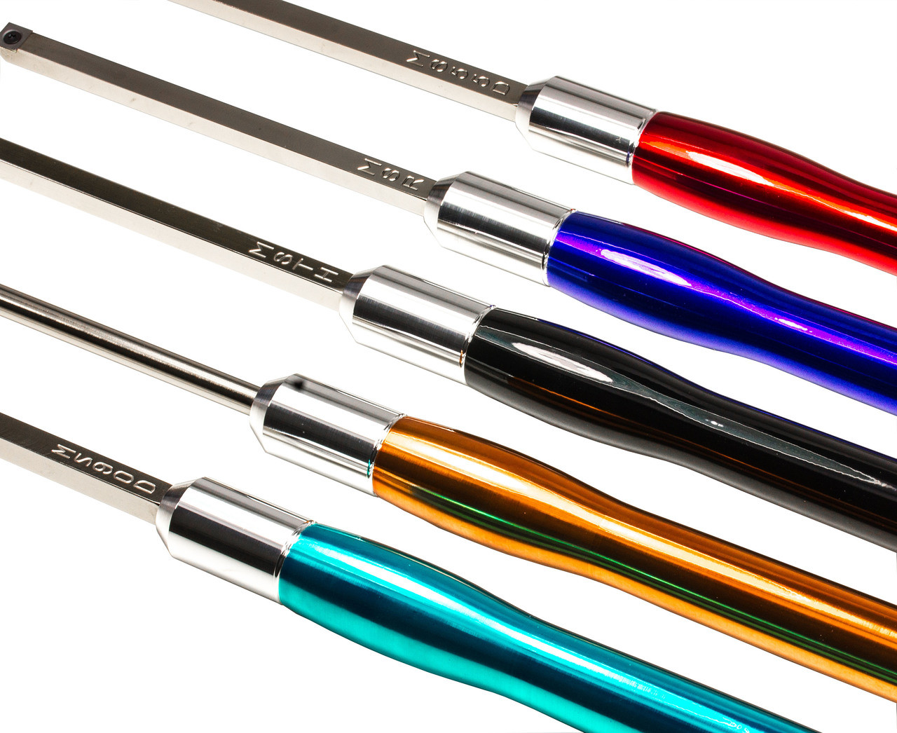 Carbide Turning Tool Set of 5 Mid Size Tools with Color Coded Handles