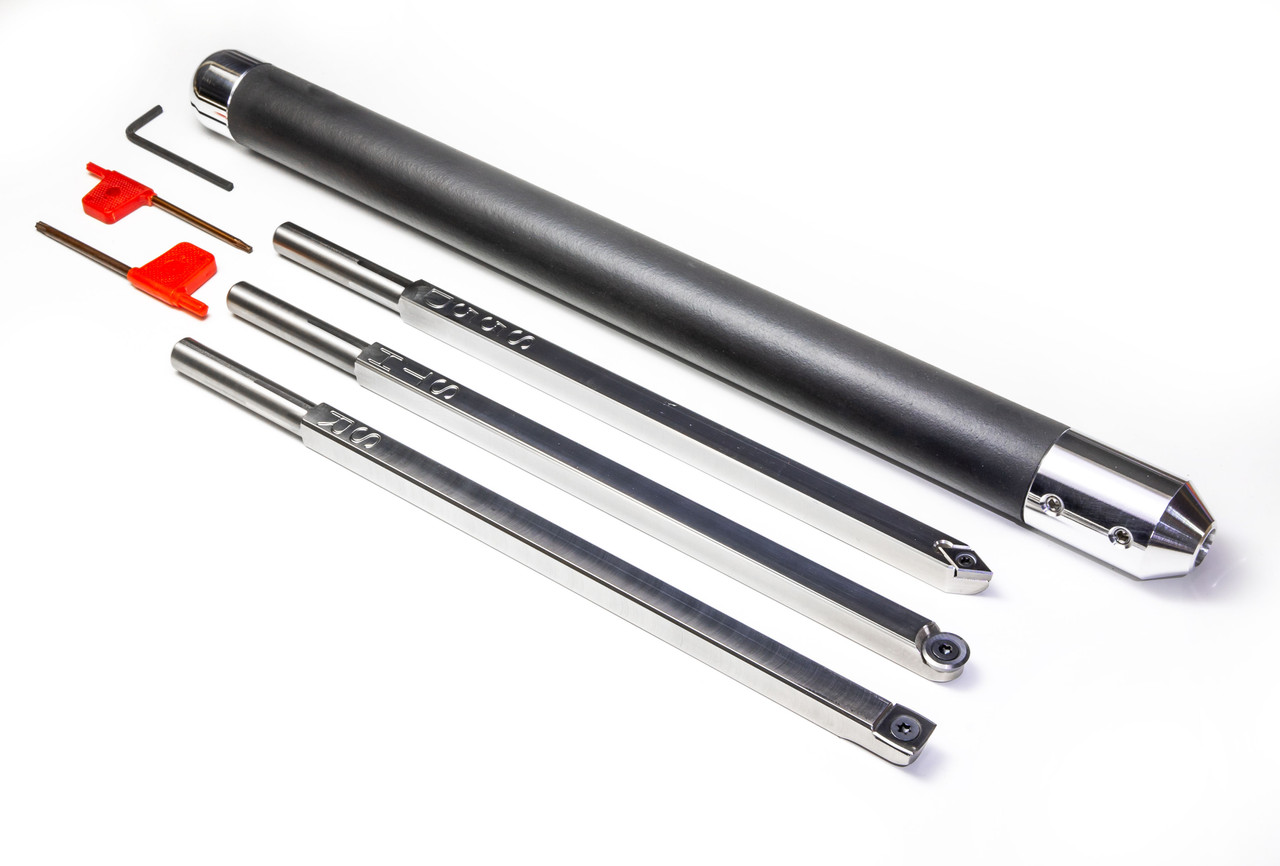 Negative Rake Set of 3 Carbide Turning Tools for Acrylic or Resin: Hollower, Rougher, Detailer with Handle
