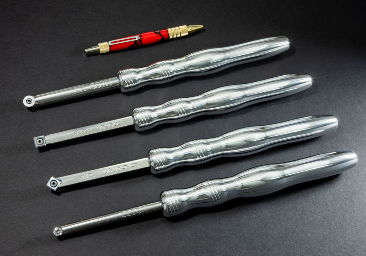 """Acrylic/Resin Set of 4 Carbide Turning Tools - Simple Start (4"""" Tools with 8"""" Handles)"""