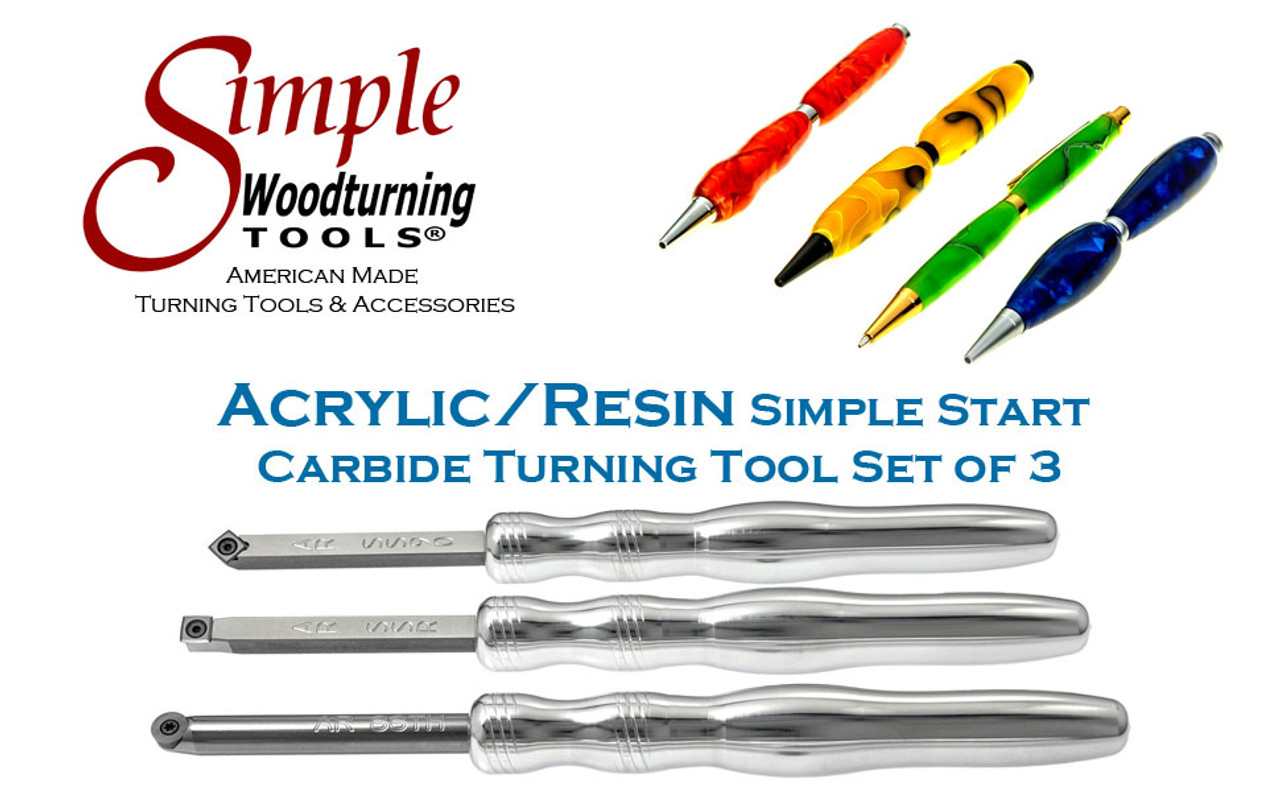 """Acrylic/Resin Set of 3 Carbide Turning Tools - Simple Start (4"""" Tools with 8"""" Handles)"""