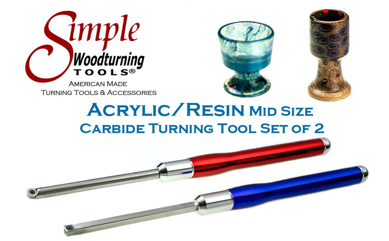 """Acrylic/Resin Set of 2 Carbide Turning Tools - Mid-Size (9"""" Tools with 12"""" Handles)"""