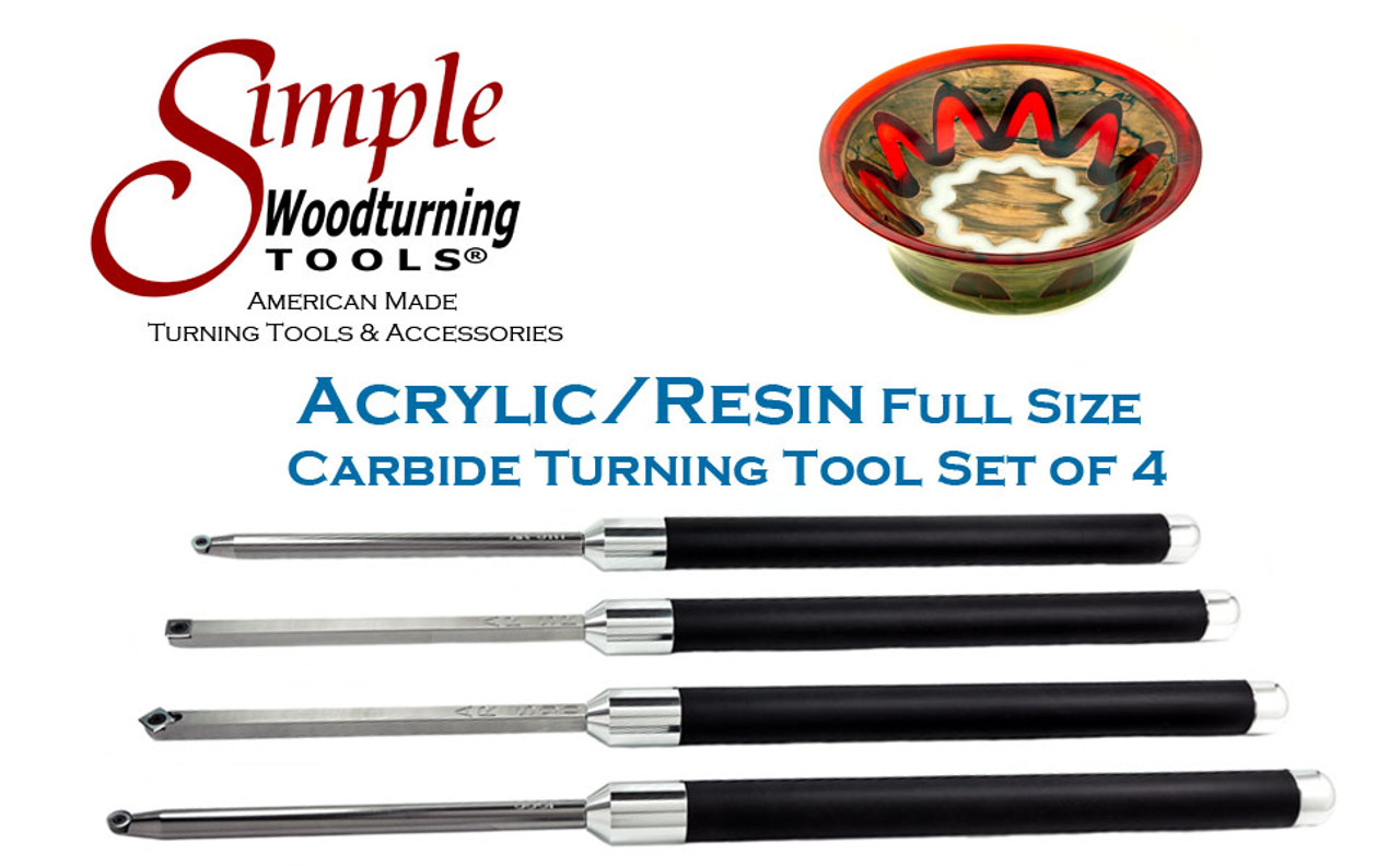 """Acrylic/Resin Set of 4 Carbide Turning Tools - Full-Size (12"""" Tools with 17"""" Handles)"""