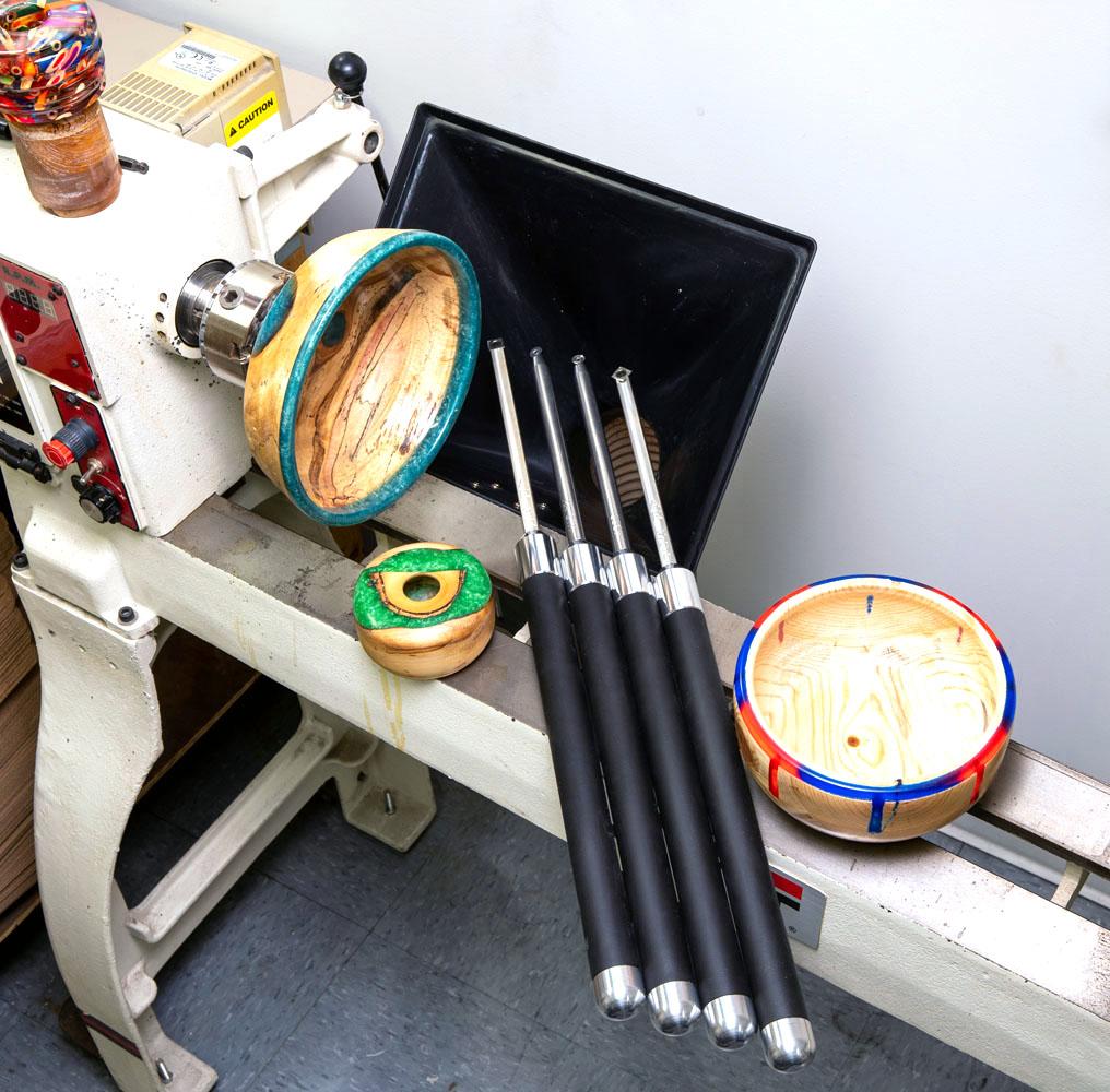 Full-size acrylic or epoxy resin turning tools for wood lathe