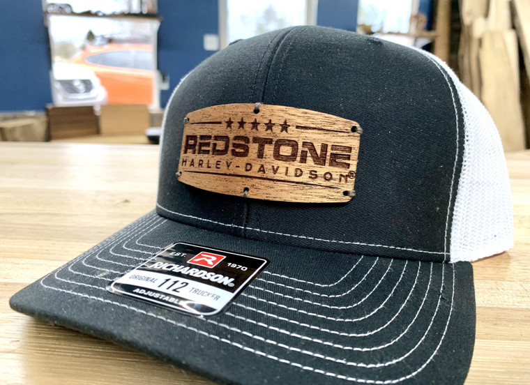 Custom made real wood patch hat.