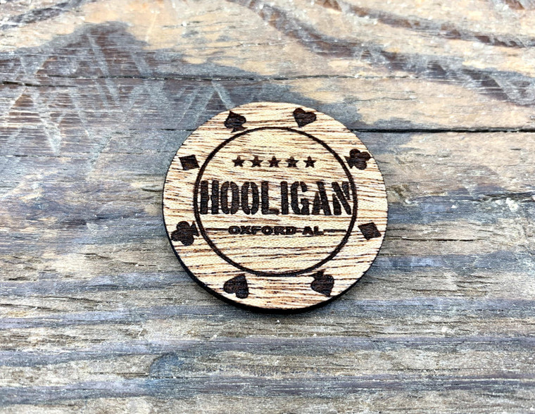 Custom designed and made wooden poker chip.