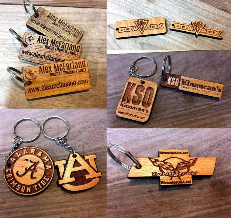 Custom designed wooden keychain.