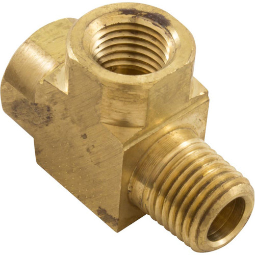 """Tee, Anderson Metals, 1/4""""mpt x 1/4""""fpt x 1/4""""fpt, Brass"""