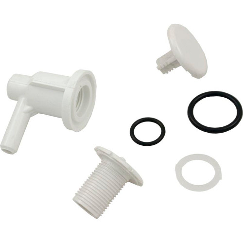 """Air Injector, WW, Low Profile, 3/8""""sb, Elbow Style, White"""