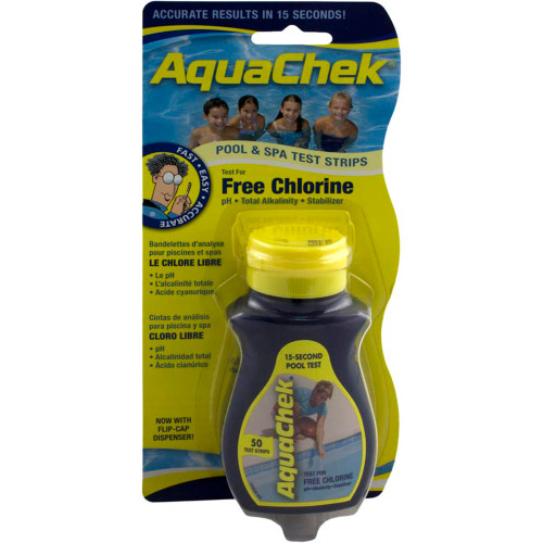 Test Strips, AquaChek Yellow, 4-in-1, Free Chlorine, 50 ct