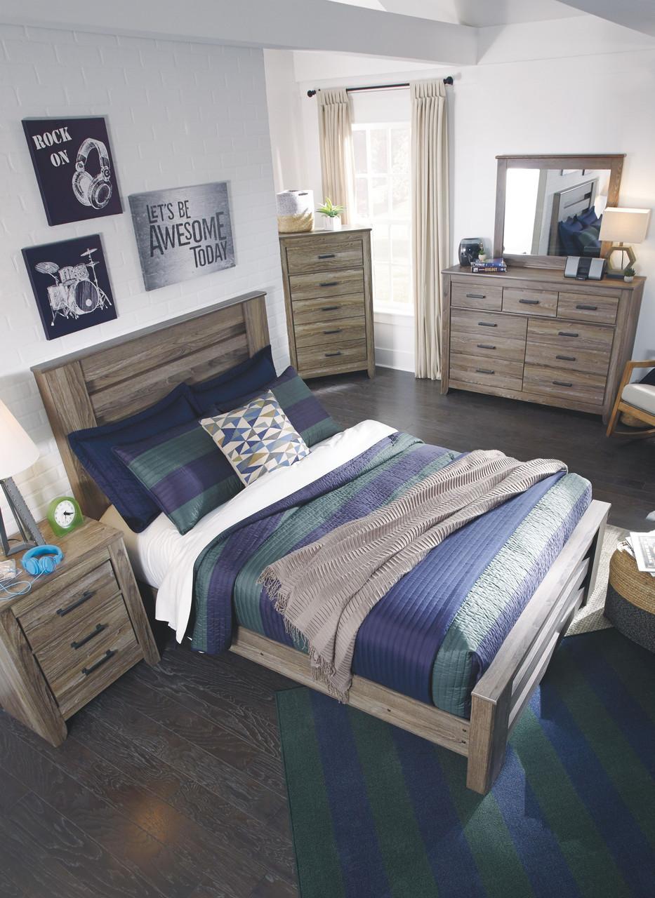 Zelen Warm Gray 5 Pc Dresser Mirror Full Panel Bed Bitney S Furniture Mattress Co