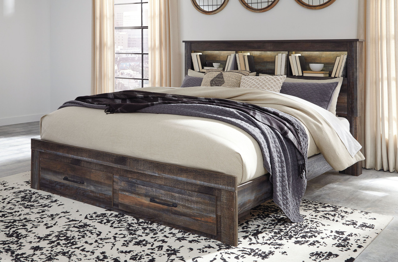Picture of: The Drystan Multi King Bookcase Storage Bed Available At Bitney S Furniture And Mattress Company Serving Kalispell Mt