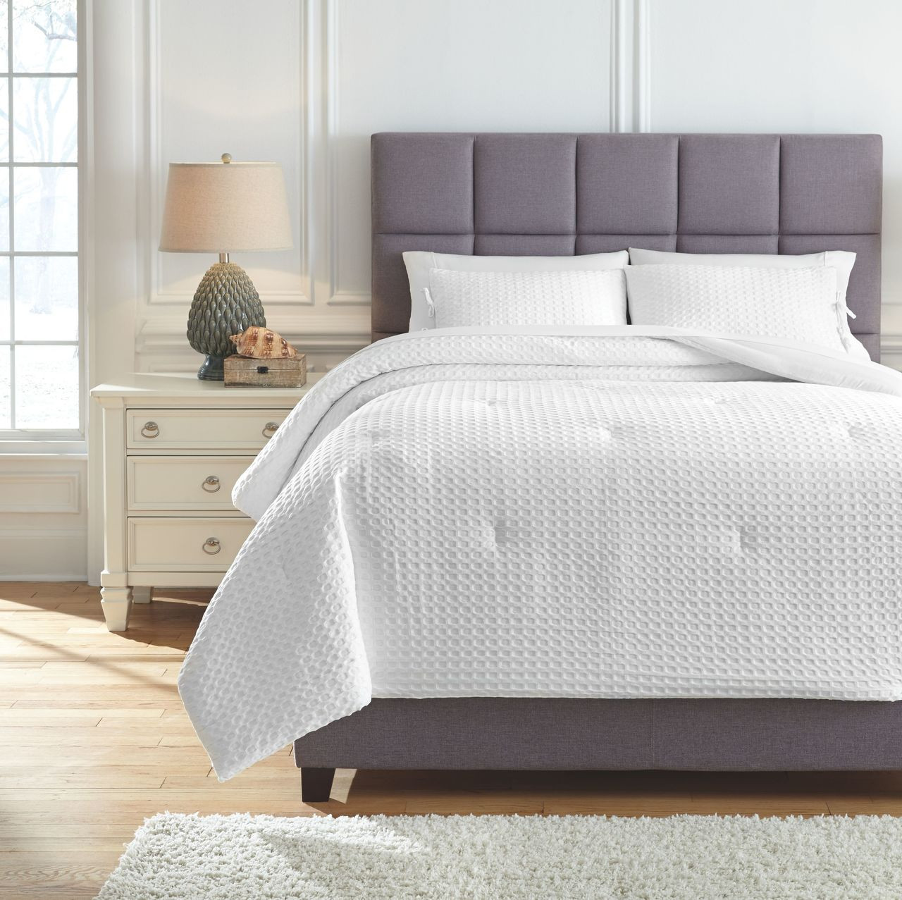 The Maurilio White King Comforter Set Available At Bitney S Furniture And Mattress Company Serving Kalispell Mt