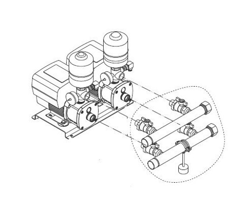 """Grundfos CMBE Twin booster connection drawing 1""""-1 1/4"""" inlet"""