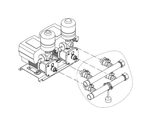 Grundfos CMBE Twin connection drawing