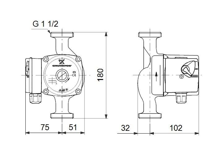 UPS 25-60 N 180 dimensions