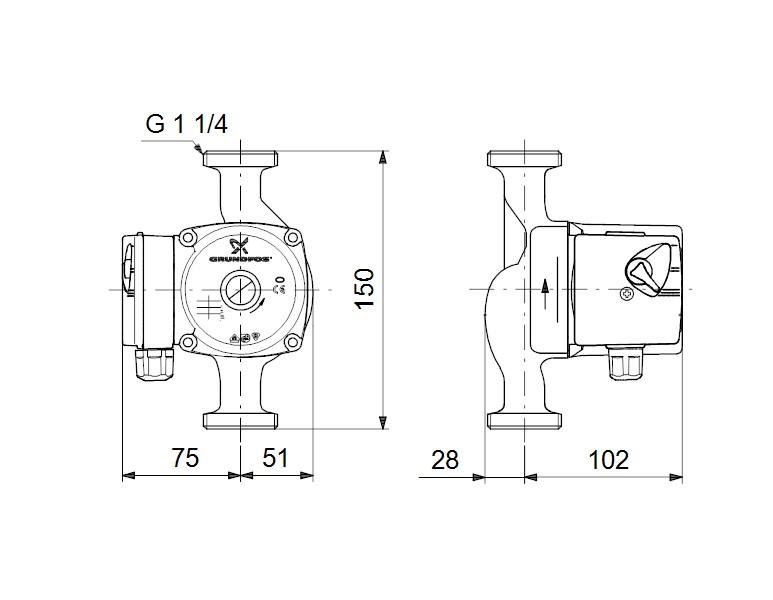 UPS 25-60 N dimensions