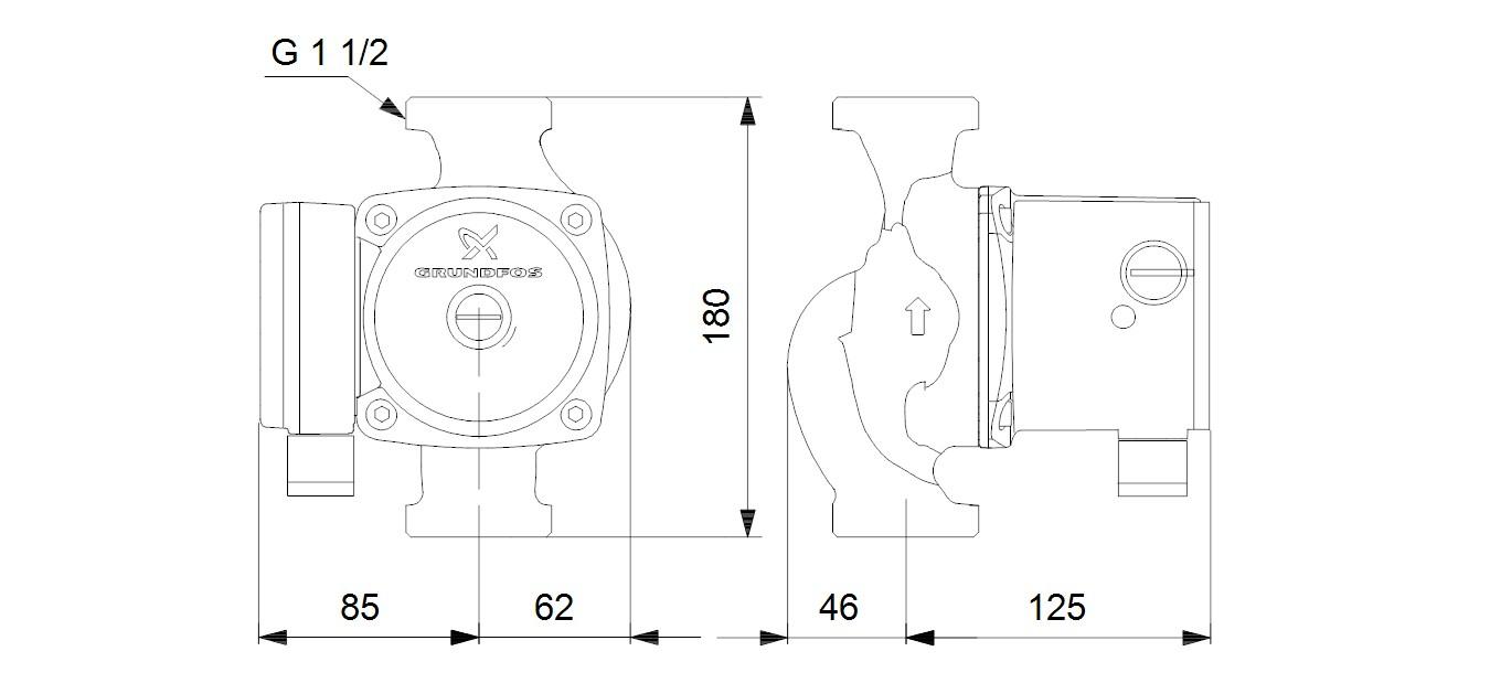 UPS 25-80 N 180 dimensions