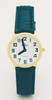 Ladies' Montiel Low Vision Watch White face, gold case, leather band