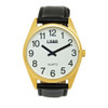 Jumbo Low Vision Watch White face, gold case, leather band