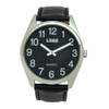 Jumbo Low Vision Watch Black face, Silver case, leather band