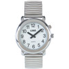 Talking 1-Button Watch With Choice of Voice White Face, Silver Color, Silver Expansion Band