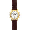 Talking Watch White face, gold tone, brown leather strap