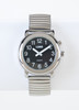 Talking Watch 1-Button Black Face - Silver Exp. Band - Men's