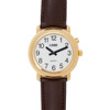 Gold One Button Watch - Brown Leather Band