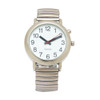 One Button Watch, White Face, Male Voice, Silver Tone, Mens