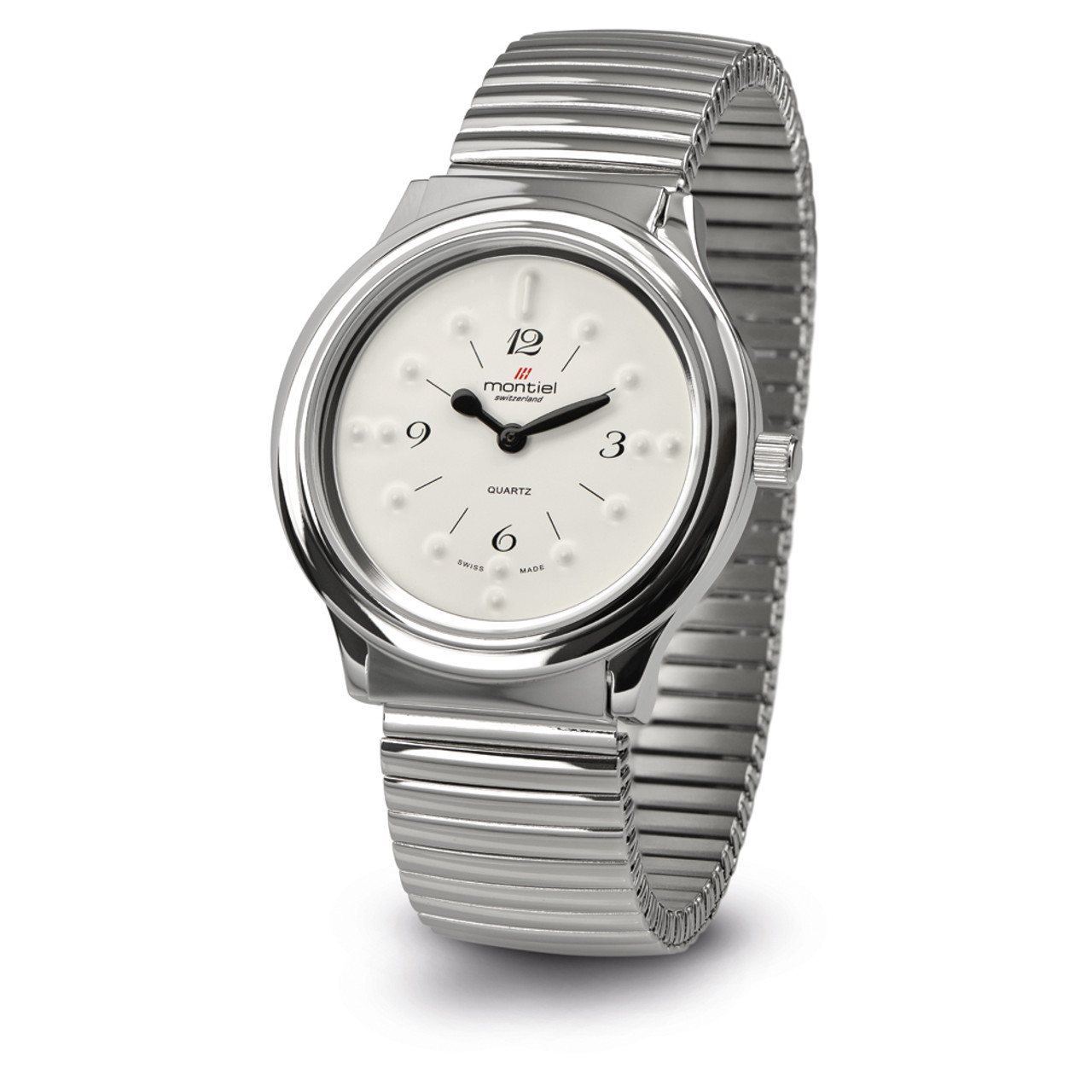 Extra Large Quartz Braille Watch - Silver