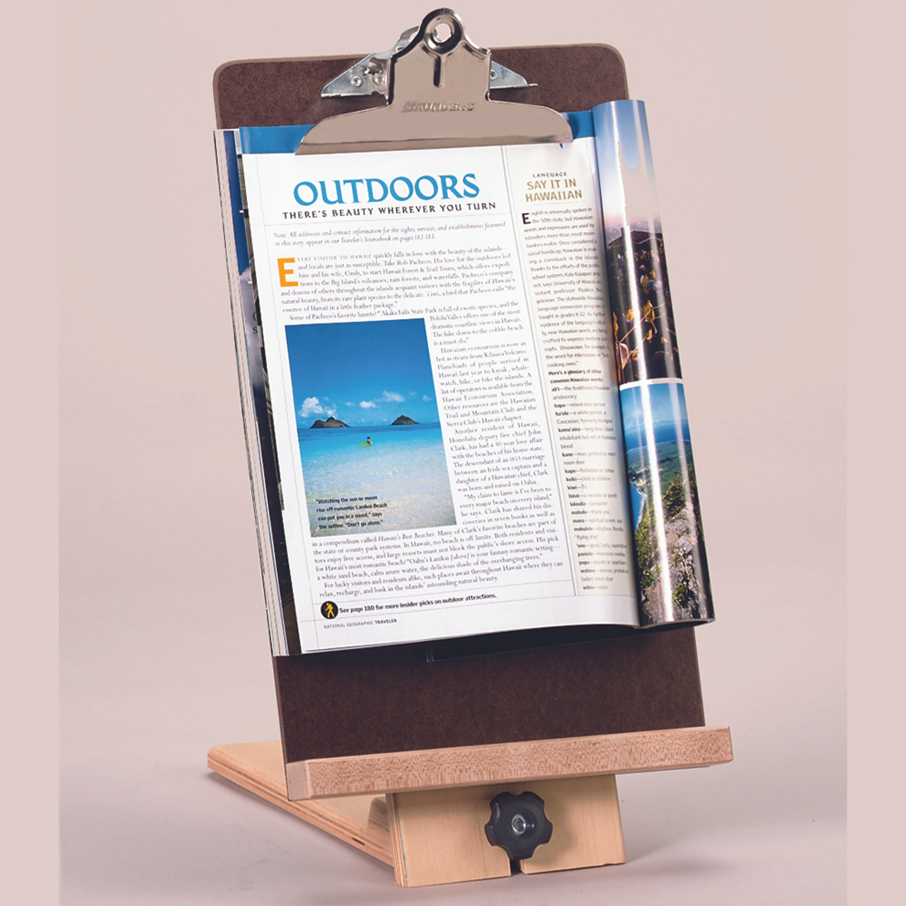 Wooden Reading Stand With Magnetic Clipboard