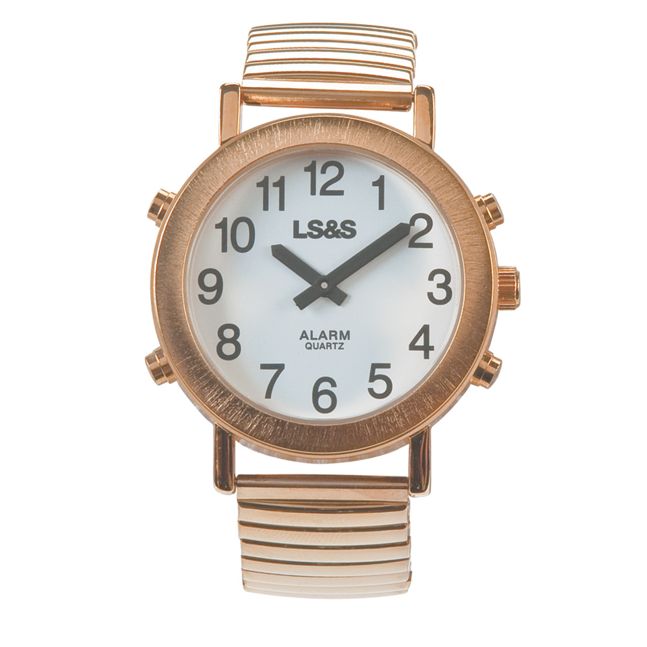 Talking Watch White face, gold tone, expansion band