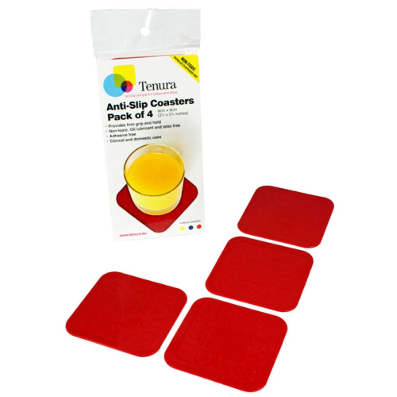 Square Silicone Coasters - 4 Pack Red